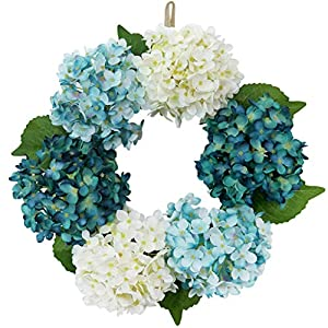 16inch Hydrangea Wreath Artificial Flower Front Door Simulation Gardenia Garland Outdoor Spring Wreath Farmhouse Wreath Hydrangea Simulation Wreath