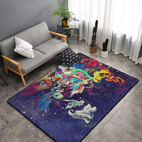 O-X_X-O Psychedelic Trippy Astronaut Space Area Rug Non-Skid Comfy Home Decorate Floor Area Rug Machine Washable Carpet for Living Room Bedroom Playroom Dinning Room Kids Playing Mat (60x39 Inches)