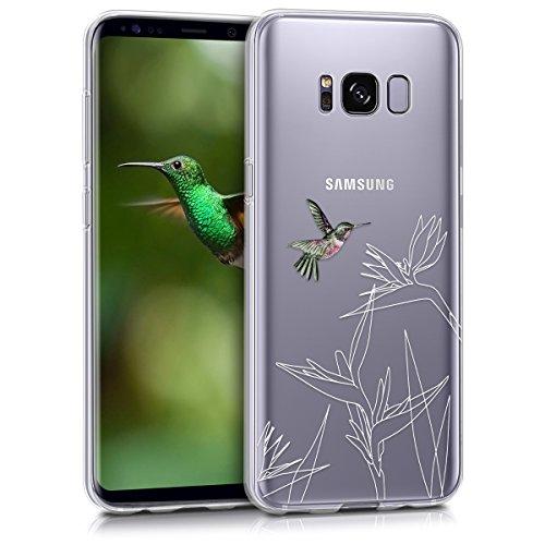 kwmobile Hülle kompatibel mit Samsung Galaxy S8 - Handyhülle - Handy Hülle Kolibri Blume Pink Weiß Transparent