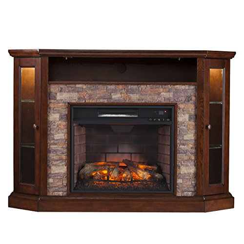 SEI Furniture Southern Enterprises Rollins Convertible Corner Infrared Electric Media Fireplace 52' Wide, Espresso Finish and Faux Stone