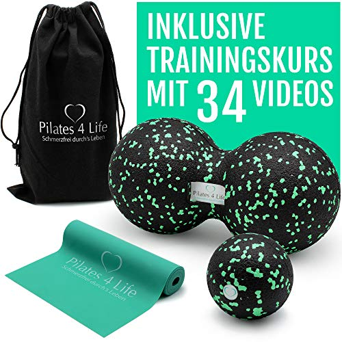 Pilates 4 Life - Premium Faszien Set - inkl. 95 Min-Videokurs für Einsteiger - hochwertiger Faszienball, Duoball & Fitnessband aus 100% Naturkautschuk