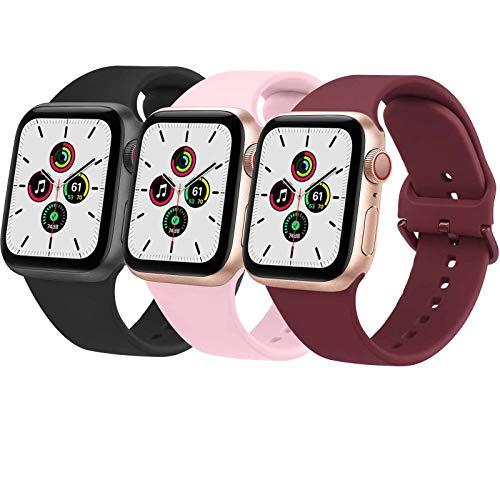 Wanme 3 Pack Correa Compatible con Apple Watch 38mm 42mm 40mm 44mm, Pulsera de Repuesto de Silicona Suave para iWatch Series SE 6 5 4 3 2 9, Mujer y Hombre (38mm/40mm,Negro/Rojo Naranja/Rosa)