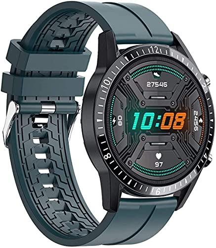 Reloj inteligente de alta definición de 1,3 pulgadas, podómetro de música de llamada, impermeable, Bluetooth, pulsera inteligente de alta gama, regalo para hombres y mujeres-verde