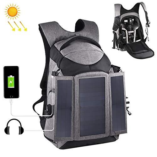 nobrand Kamerarucksack Jrc 3-Fach 14W Sonnenenergie im Freien beweglichen Doppel Schultern Backpackage Kameratasche mit USB-Anschluss und Kopfhörer-Loch (Gray) Wandern im Freien (Color : Grey)