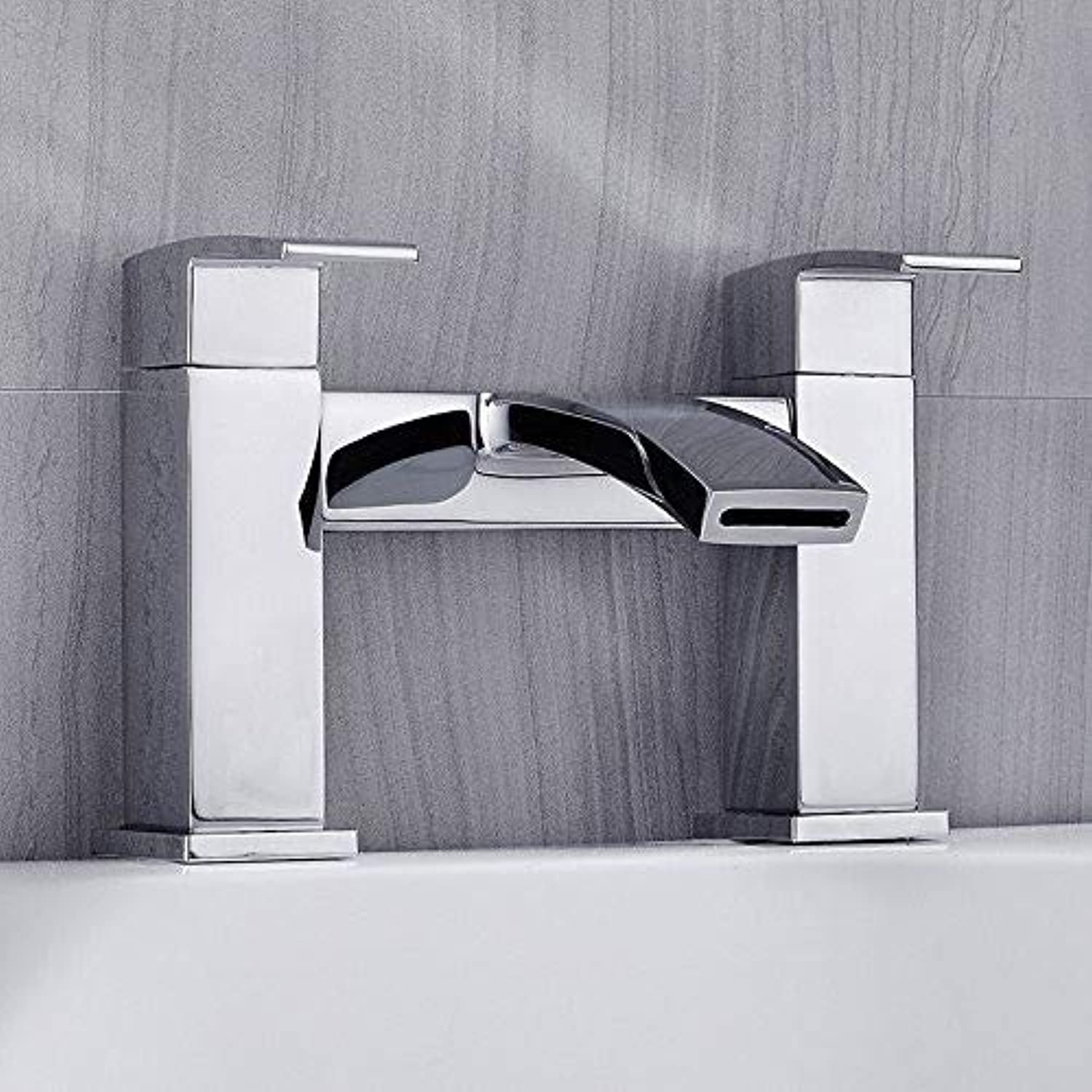redOOY Faucet Taps Luxury Bath Bathroom Square Shower Faucet Mixer Tap With Shower Waterproof Shower Faucets Tub Chrome