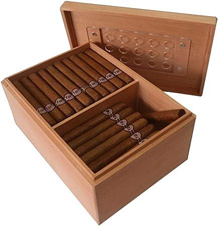 Caja de cigarros - Caja de cigarros de Madera de Cedro de España Humidor de 75 Palos Caja de Cigarrillos portátil de Madera sólida aplastada Sellado Humedad Constante (Color : Brown): Amazon.es: Hogar