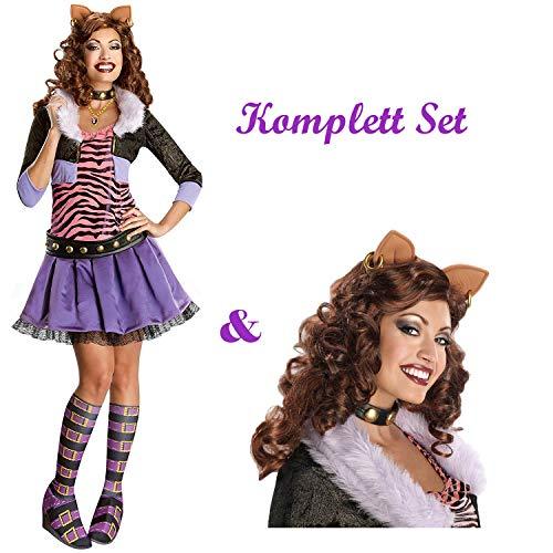 Savahe Monster High Clawdeen Wolf Kostüm & Perücke Damen / Karneval Fasching Halloween Tier Party (36/38 - S)