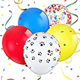 Yisscen Paw Dog Patrol Globos, globos de látex azul amarillo rojo, globos de confeti, globos de látex coloridos, globos de decoración para fiesta de cumpleaños para niños (90 piezas)