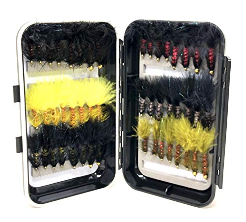Bead Head Wooly Bugger Assortment- 48 Flies with Large Waterproof Fly Box for Trout and Other Freshwater Fish - 6 Color Variety of Black, White, Brown, Olive, and Pink Plus Flash (Flies and Box)