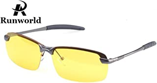 Mens HD Night View Night Vision Anti-Glare Non-Polarized & Polarized Avaitor Rimless Wraparound Wrap Around Driver's Yellow Driving Glasses Sunglasses Goggles