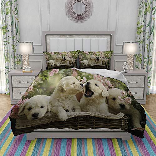 yiwangle Juegos de Fundas para edredon,Ropa de Cama,Red Puppy Little Golden Retriever Puppies in Basket Summer Pink Rose Garden Yellow,Fibrae Xtrafina,Edredones y 2 Almohadas