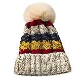 Feytuo Femmes Chapeaux Couture Solide de Boule de Peluche en Plein air Crochet tricoté Bonnet en Crochet pour Femmes Hiver Chaud épaissir Laine Patchwork Tricot Casquettes Casual Coupe-Vent