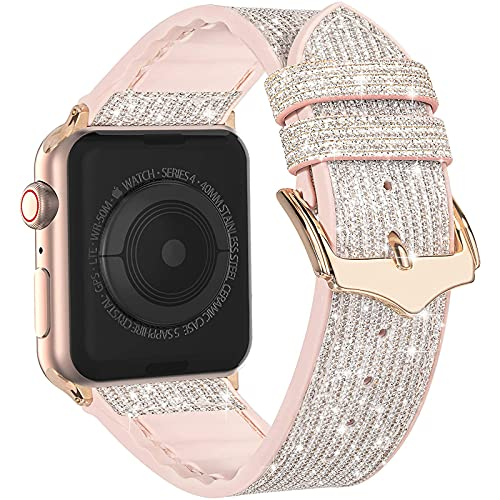 Compatible with Apple Watch Band 38mm 40mm 41mm 42mm 44mm 45mm, CTYBB Blingbling Sweatproof Genuine Leather and Silicone Band for iWatch Series 7 6 5 4 3 2 1 SE, (Glitter Silver, 38mm 40mm 41mm)