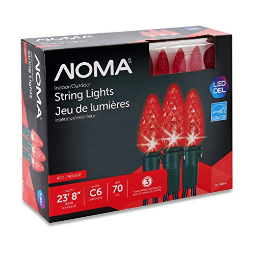 NOMA LED Christmas Lights | 70-Count C6 Red Bulbs | 23' 8' String Light | UL Certified | Outdoor & Indoor