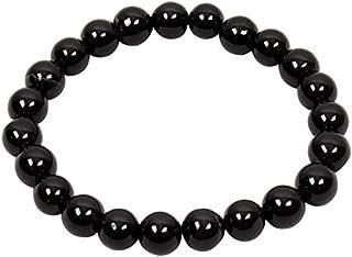 DHYANARSH 100% Original Natural Black Agate Beads Bracelet Gorgeous Semi-Precious Gemstones Healing Beaded Bracelet Unisex
