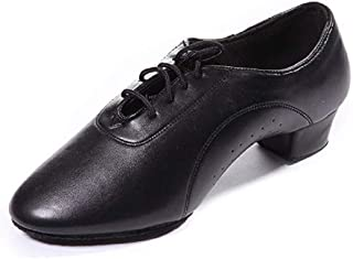 DoGeek Latin Dance Shoes Leather Breathable Lace up Modern Dancing Shoes Latin Shoes for Men Ballroom, Tango,Viennese Waltz (Children and Adults)