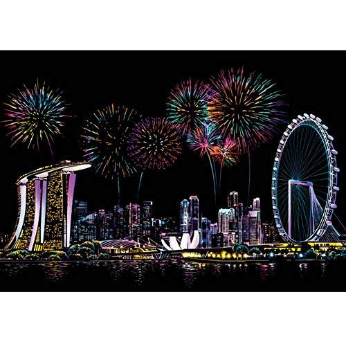 YWXKA Rascar Papel, Color del Arco Iris Arte de la Pintura del Doodle Pad con la Pluma de Dibujo, Viajes erfect Actividad o Regalo para los niños - Singapur