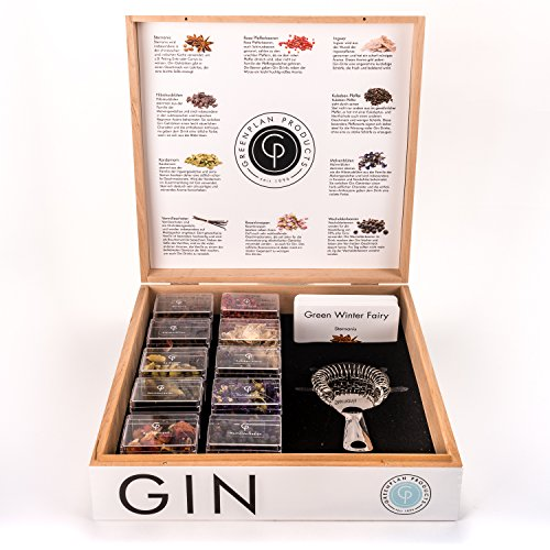 Greenplan Products - Gin & Tonic Gewürze Set mit 10 ausgewählten Gewürzen zum Verfeinern/in edler Holzkiste inkl. Rezeptkarten