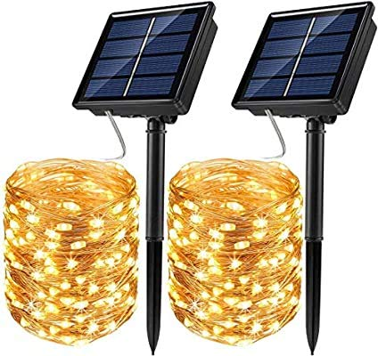 Tarister [2 Pack] Cadena de luces solares para exterior 12 m 120 luces LED para exterior, con 8 modos, luces de hada para terraza, jardín, Navidad, balcón, fiestas, resistente al agua, blanco cálido