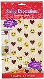 Amscan Valentine Emoji String Decorations, 7', Multicolor