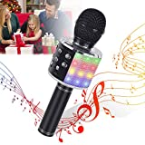 Generie Bluetooth Microphone for Kids - Karaoke Microphone for Car, Kids Microphone Karaoke with LED Lights, Best Gift Toy Microphone for Kids Christmas, Black
