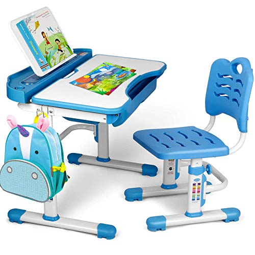 SIMBR Kids Desk and Chair Set, Height Adjustable Student Study Desk for Home Schooling with Storage Drawer, 180°Bookshelf, 55°Tilted Desktop, Metal...