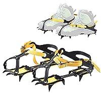 12歯アイスアイゼン冬スノーブーツシューズアイスグリッパー滑り止めアイススパイクスノートラクションクリートクライミング機器