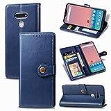 zhuwei para El Estuche LG Style3 L-41A, Estuche Redondo Magnético De PU con Patrón De Revit con Portatarjetas(Color:Azul)
