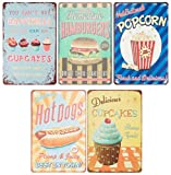 Blechschilder von Juvale (5er Set) – Motive: Hamburger, Hot Dog, Popcorn, Cupcakes im Vintage-Stil - Als Wanddekoration für Küche oder Esszimmer, im Bistro, Café, Restaurant - Je 30 cm x 20 cm