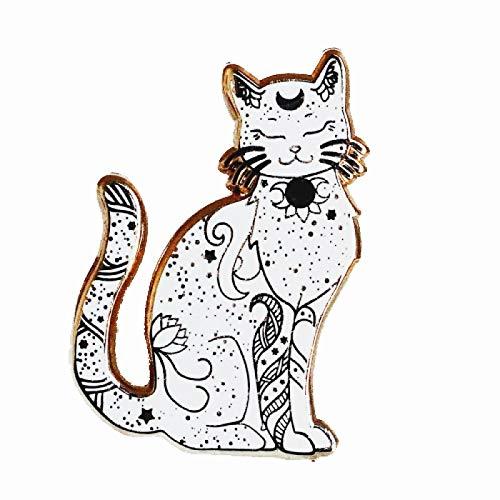 wangk Diosa Hard Pin Moda Celestial Estrella Dorada Pines Lindo Dibujos Animados Animal Gato Broche Marinero Lunas Medalla