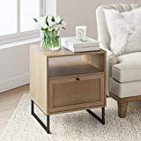 Nathan James Mina Side, End Table Wood Finish & Matte Accents with Storage for Living Room or Nightstand for Bedroom, Natural Oak/Black
