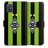 DeinDesign Klapphülle kompatibel mit Samsung Galaxy A51 Handyhülle aus Leder schwarz Flip Case Borussia Mönchengladbach Streifen Gladbach
