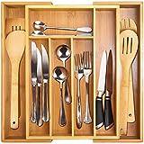 Pinsheng Organizador de Cajón Expandible de Bambú, 5-7 Separadores de Cajón de Soporte de Cubiertos de Bambú para Utensilios, Bandeja Cubiertos Bambu Ajustable para el Hogar y la Cocina
