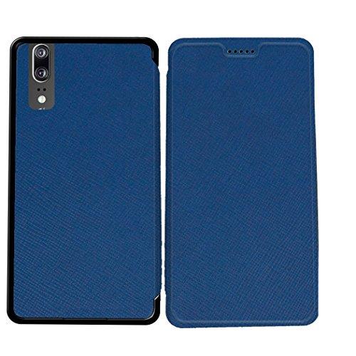 Case-Industry Mobilefashion Custodia Protettiva Case Cover per Huawei P20 - Esterno modello Bleu Marine Collection Exception Cuoio PU
