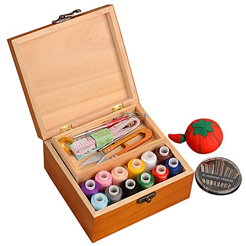 OLizee Portable Wooden Sewing Kit Case Organizer Box Set for Home Travel, with Thread/Needles/Tape Measure/Scissors/Thimble and Other Accessories