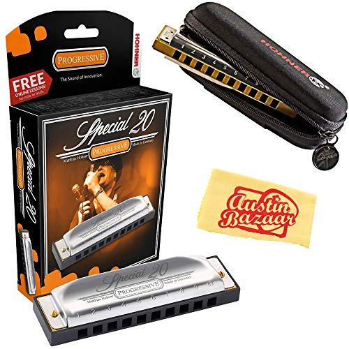 Hohner 560 Special 20 Harmonica - Key of D Bundle with Carrying Case and Austin Bazaar Polishing Cloth