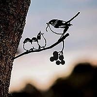 枝に金属の鳥のシルエットチカディーシルエットハンギングメタバードシルエットツリーウォールアートガーデン屋外飾り母の日父の日感謝祭