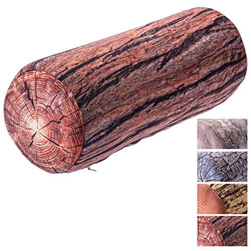 KADAX Nackenrolle, Kopfkissen mit waschbarem Bezug, geeignet für Allergiker, Kissen für Bett, Nacken, Schlaf, Dekokissen aus Schaumstoff, Nackenkissen, Relaxkissen (15 x 40 cm, Akazie)