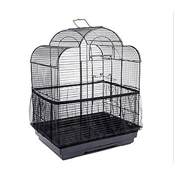 Soloer Housse de cage à oiseaux en maille ventilée anti-poussière pour animal domestique black Large
