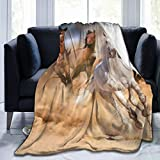 Horse Fleece Throw Blanket Cozy Soft Sherpa Blanket for Sofa Couch Bed - 60' X 50'