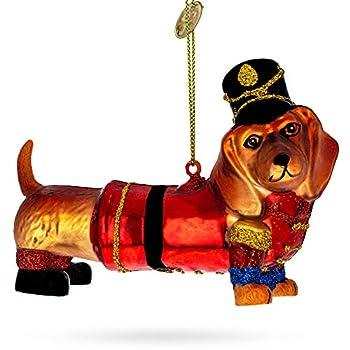 BestPysanky Dachshund Dog in Hat Glass Christmas Ornament