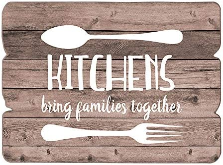 Amazon Com Mode Home Farmhouse Kitchen Sign For Wall Decor Wood Wall Art Vintage Kitchen Decor Kitchen Art Kitchens Bring Families Together Home Kitchen