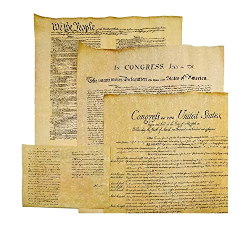 4 Antiqued Parchment Paper US Historical Documents - The Declaration of Independence, The US Constitution, The Bill of Rights, and the Gettysburg Address Reproductions