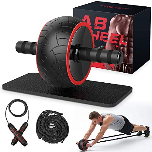 Ab Roller, Ab Wheel Exercise Equipment for Home Gym, Ab Roller Wheel for Abs Workout, Ab Machine with Knee Pad, Resistance Bands, Jump-ropes, Fitness Equipment for Men Women Abdominal Exercise