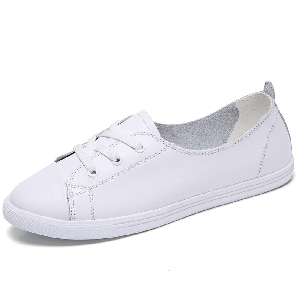 JIFENGJIANHAO浅い口の革のファッション白い靴の革の女性の靴野生のカジュアルシューズは薄いフラットシューズ韓国ZJ 45 Z Z 006でした/ F