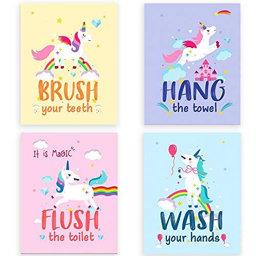 "Funny Colorful Unicorn Bathroom Watercolor Art Print Set of 4 (8""X10""), Unicorn art Poster for Nursery, girls Kids Bathroom Home Wall Decor, No Frame"