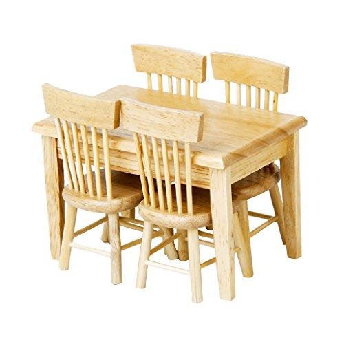 5 Stück Esstisch Stuhl Modell Set Puppenhaus Miniatur Möbel aus Holz 1/12