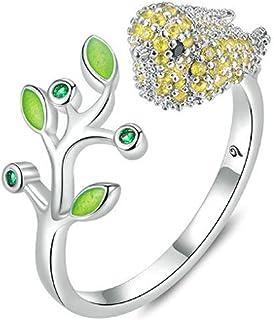 Dainty CZ Yellow Bird Adjustable Rings for Women Girls Boy Men Cute Green Leaf 18K Silver Plated Wrap Stacking Finger Open...