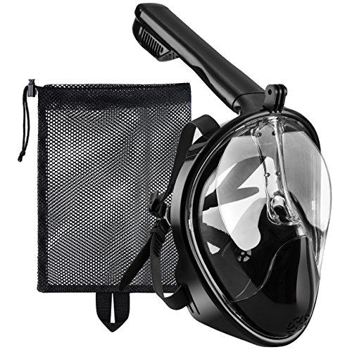 OMorc Maschera da Snorkeling Maschera da Immersione con Visuale a 180 Gradi, Maschera Subacquea 180° Full Face Design con Go Pro Anti-Fog Anti-Perdite Visione Ampia Respirazione Libera, Camera Go Pro, Nero