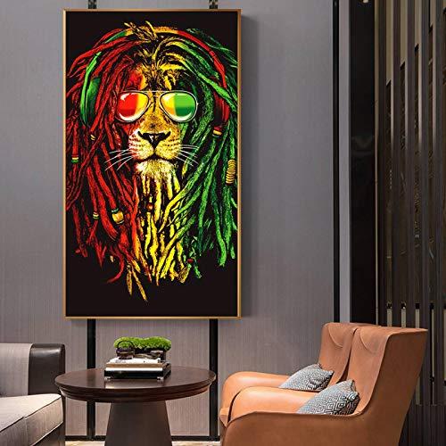 Coloridos leones con gafas de sol arte de pared carteles abstractos graffiti León impresiones lienzo pinturas arte nórdico cuadro habitación niños decoración